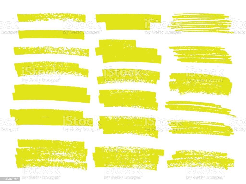 Vector highlighter brush lines. Hand drawing. vector art illustration