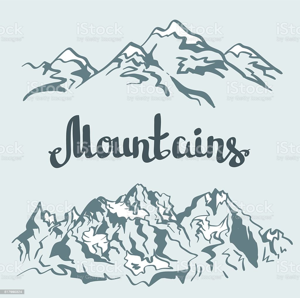 Vector Himalayan peaks. Hand drawn mountain landscape. vector art illustration