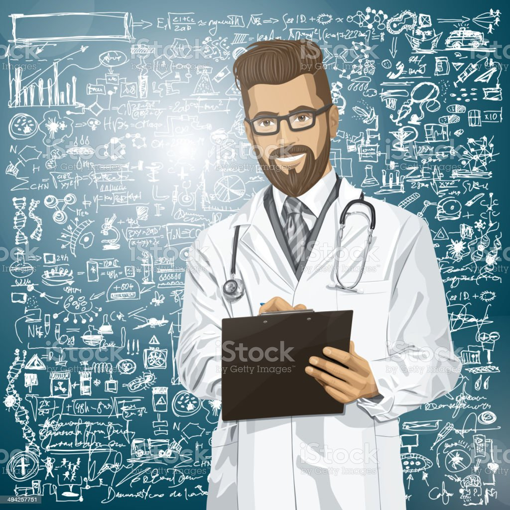 Vector Hipster Doctor Man With Clipboard royalty-free stock vector art