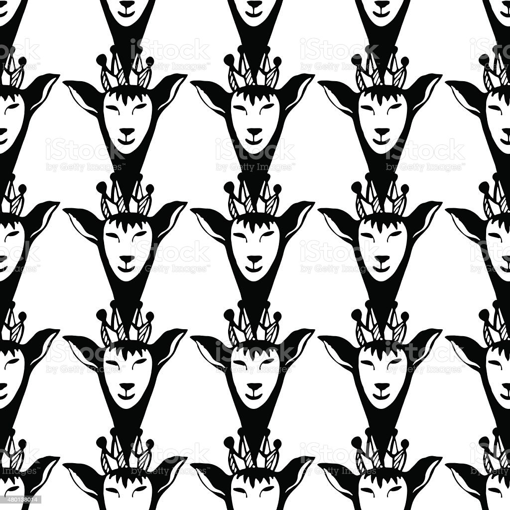 Vector hipster seamless pattern with black queen deers. Graphic illustration. vector art illustration