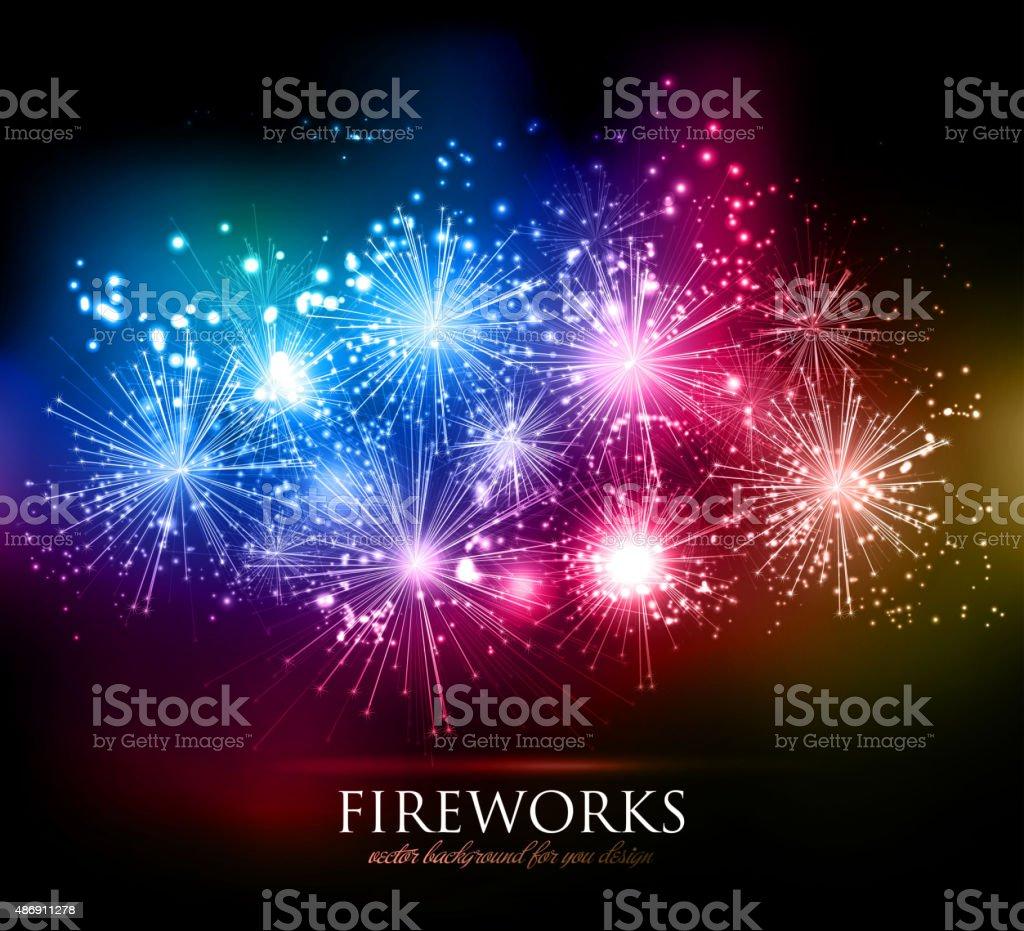Vector Holiday Fireworks Background vector art illustration
