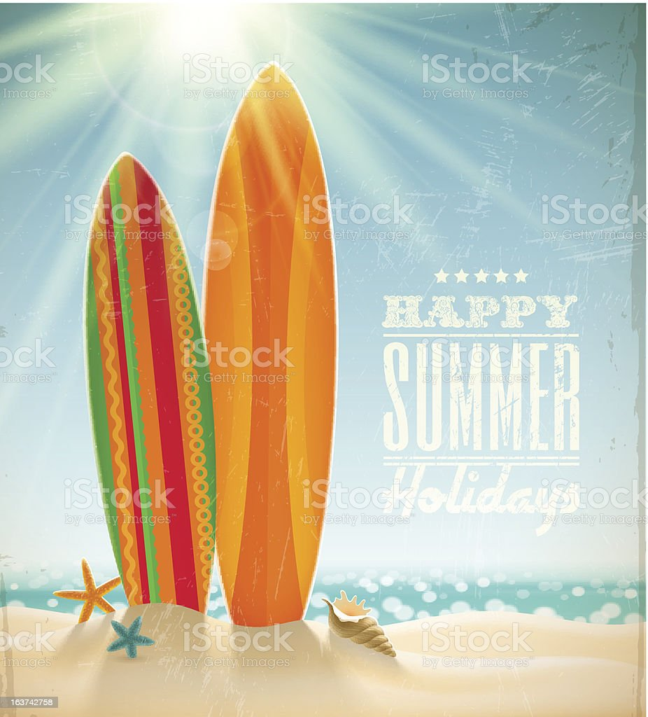 Vector holidays vintage design with surfboards vector art illustration
