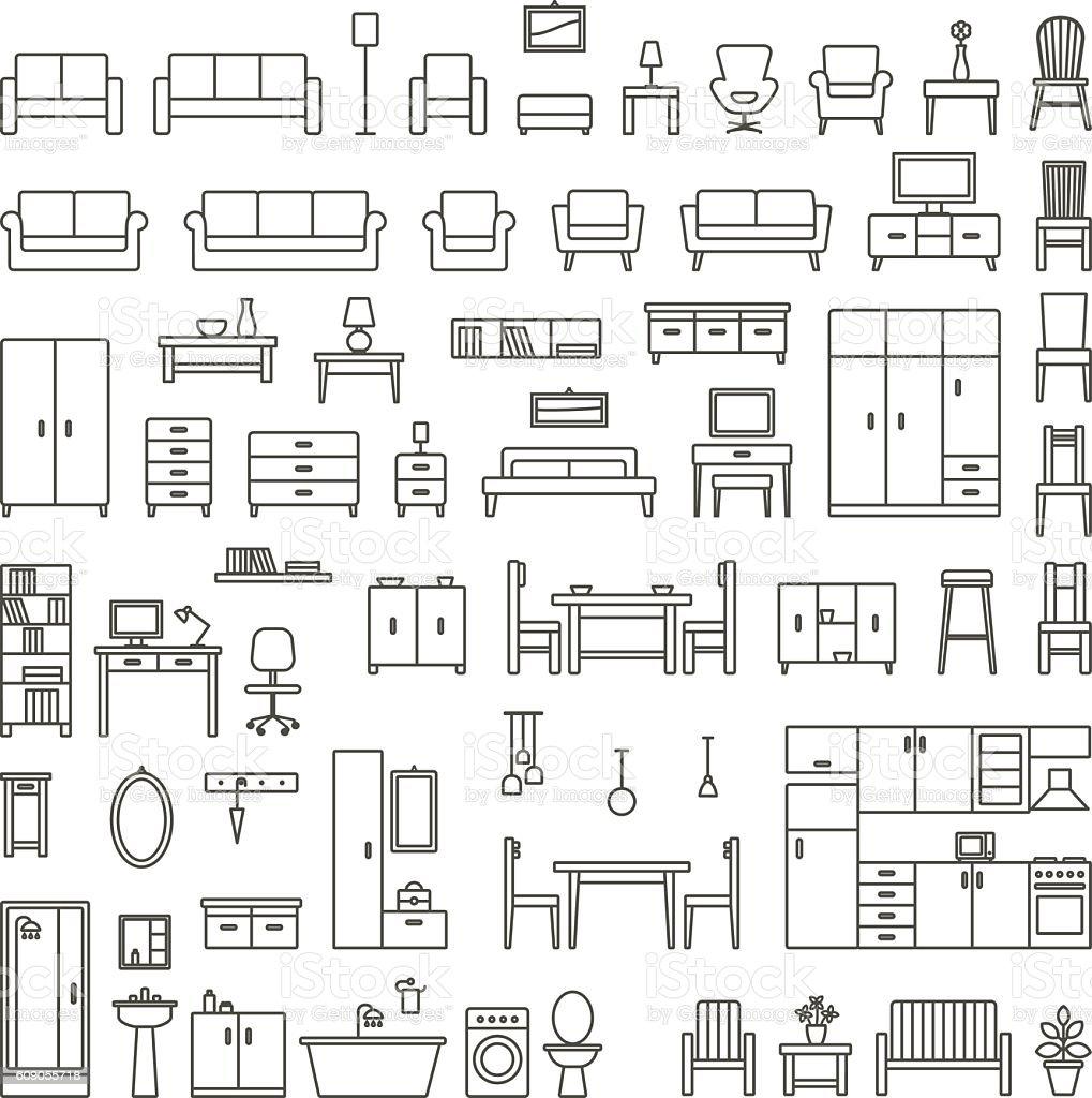 Vector home furniture outline icons set 1 vector art illustration