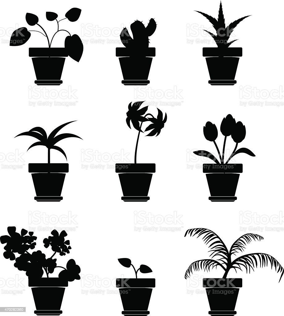 Vector Home Plants Clipart vector art illustration