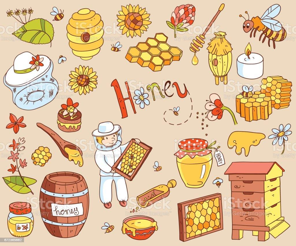 Vector honey element doodle set with beehive, beekeeper, flowers vector art illustration