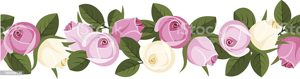 Vector horizontal seamless background with pink and white rose buds. royalty-free stock vector art