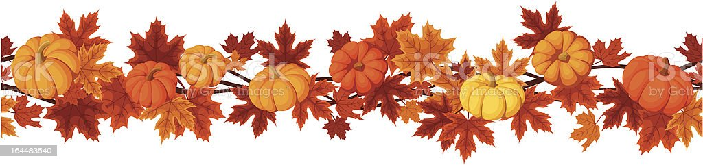 Vector horizontal seamless background with pumpkins and autumn maple leaves. vector art illustration
