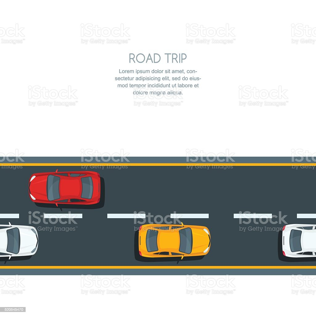 Vector horizontal seamless background with road and multicolor cars. vector art illustration