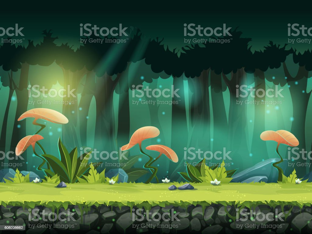 Vector horizontal seamless illustration of forest with mystical vector art illustration