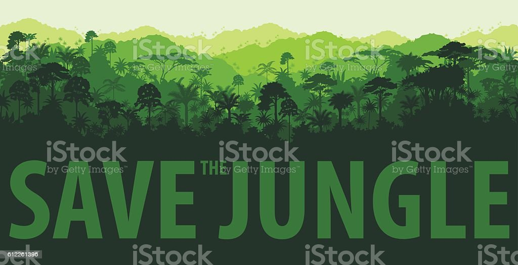 Vector horizontal tropical rainforest Jungle backgrounds vector art illustration