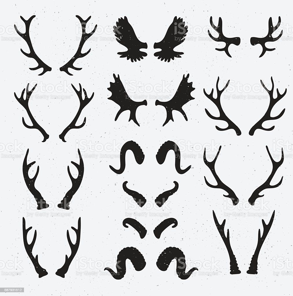Vector Horns set silhouette on the grunge hipster background. vector art illustration