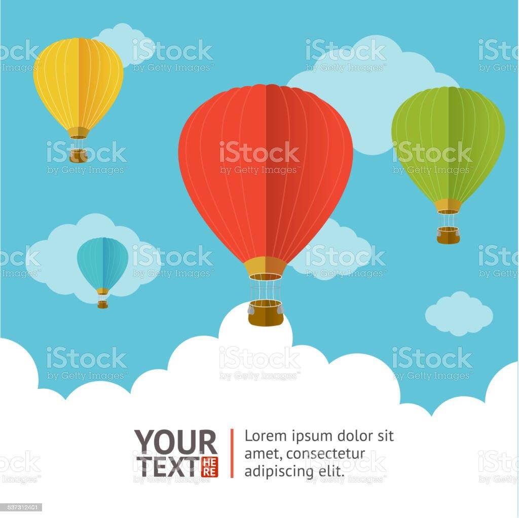 Vector. Hot air ballons option banners vector art illustration