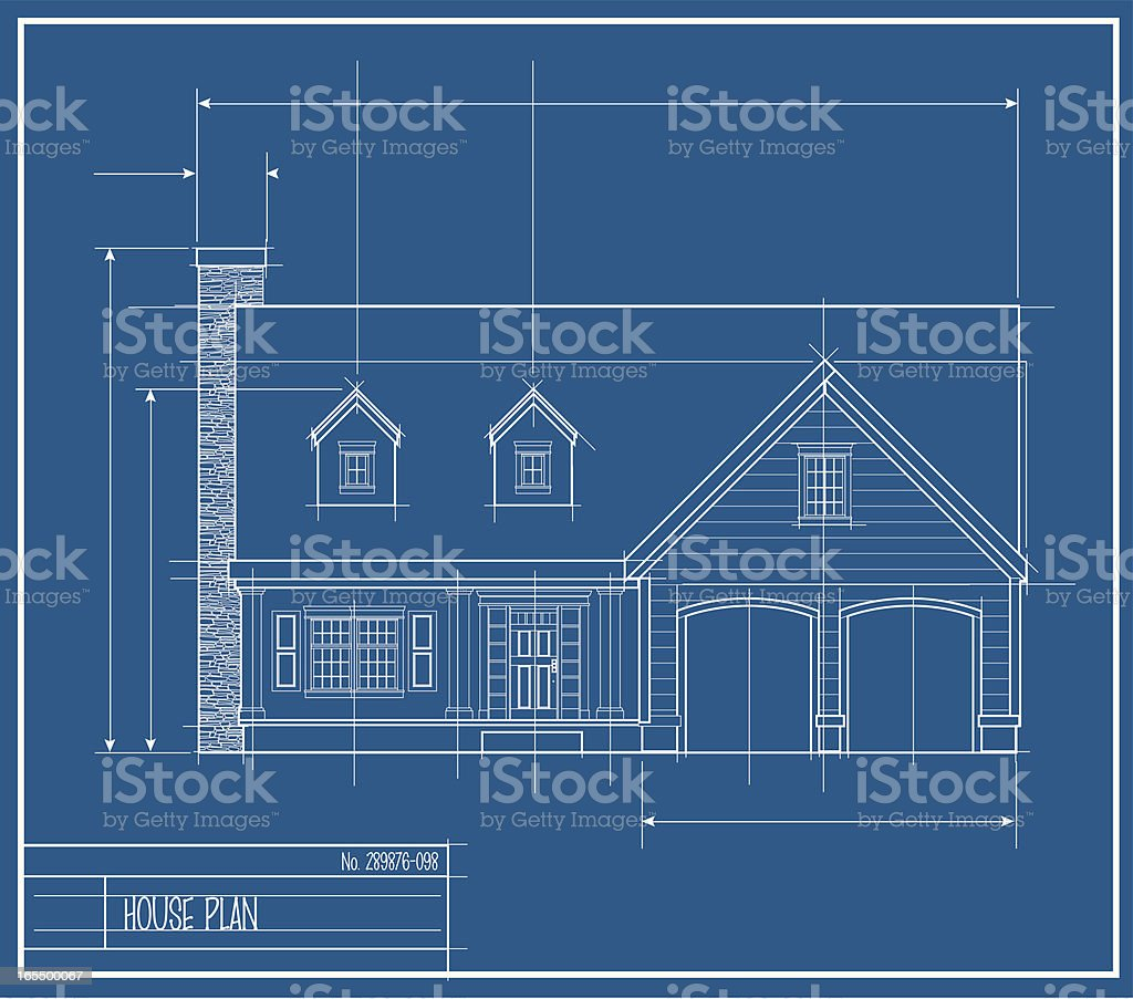 Vector House Blueprint Front royalty-free stock vector art