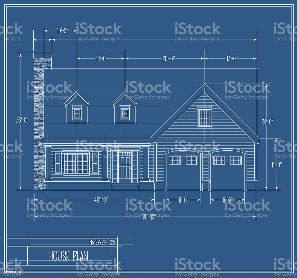 Vector House Blueprint Front royalty-free stock vector art