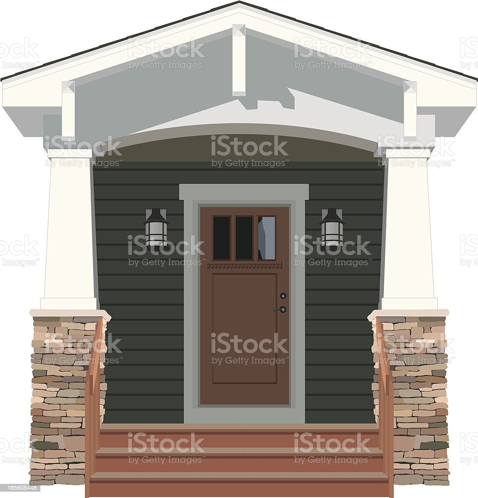 Vector House Door Front Bungalow vector art illustration