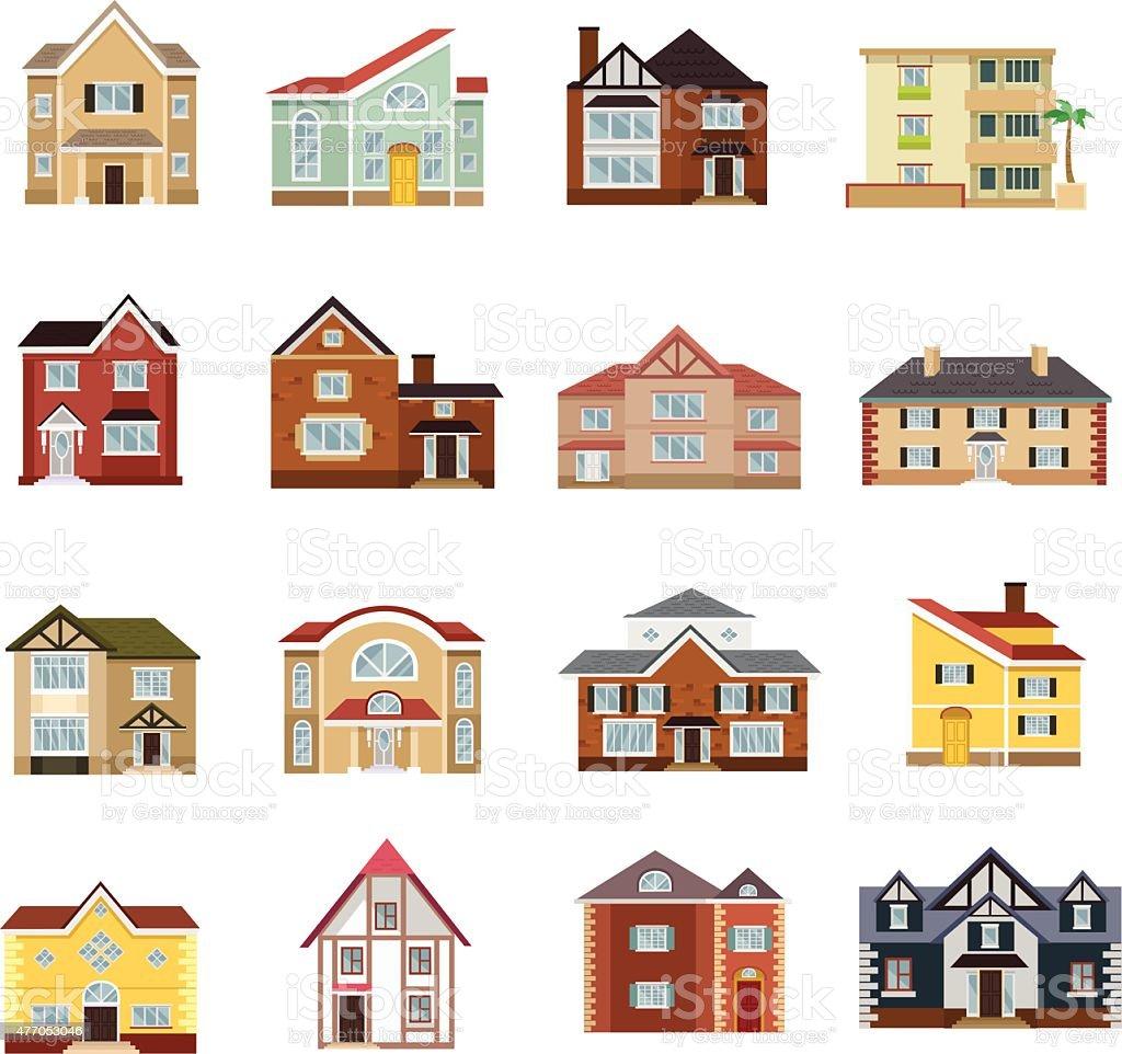 Vector house flat icon set vector art illustration