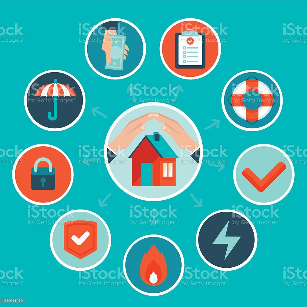 Vector house insurance concept in flat style vector art illustration