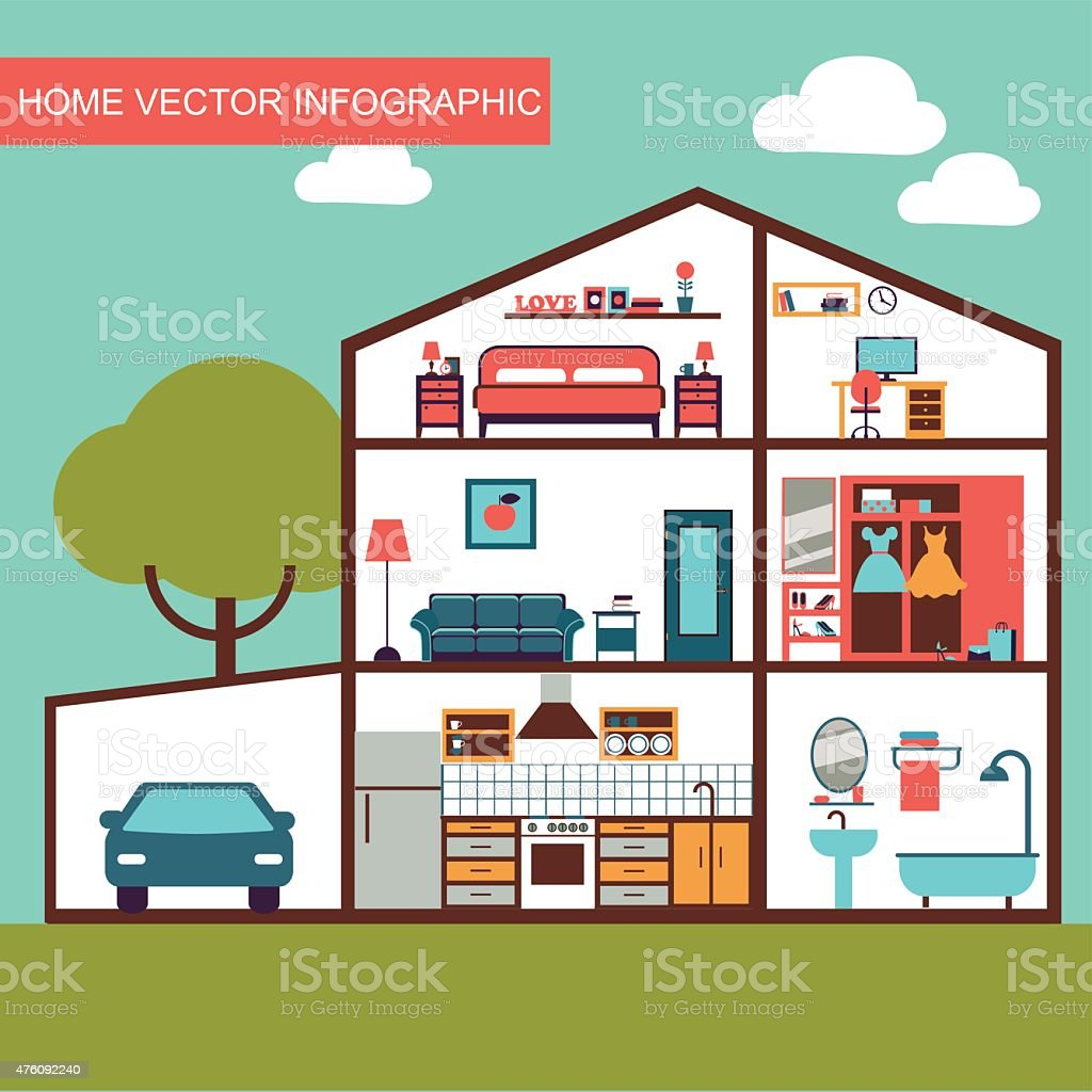 vector house interior vector art illustration
