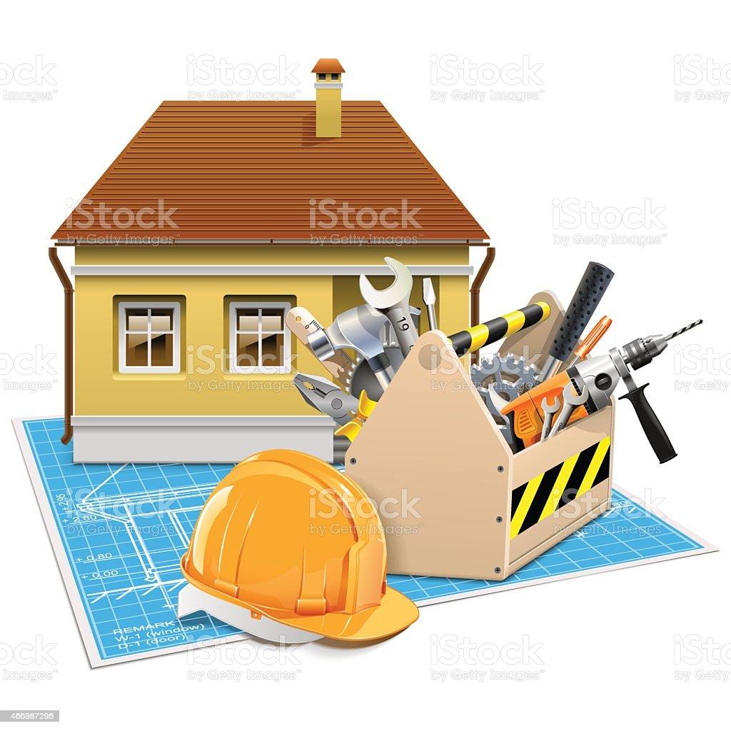 Vector House Repair Project vector art illustration