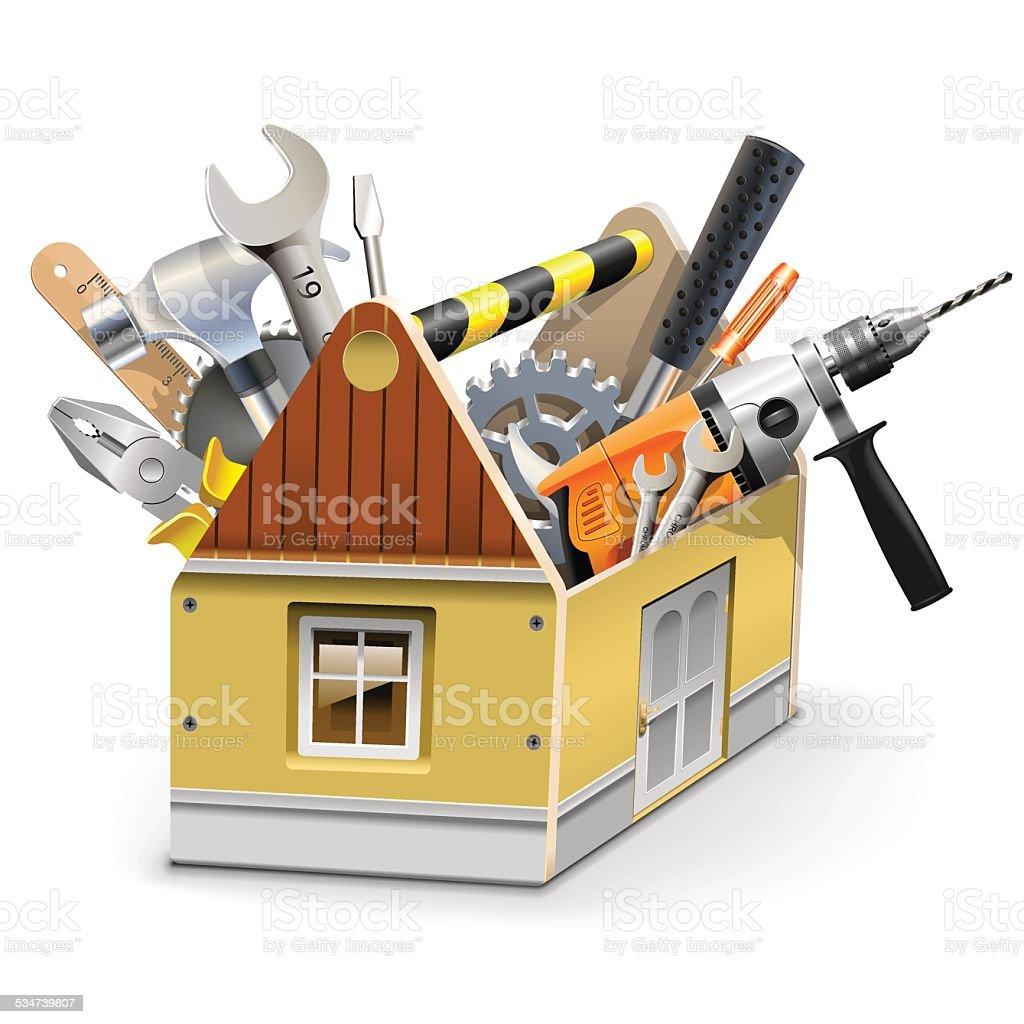 Vector House Toolbox vector art illustration