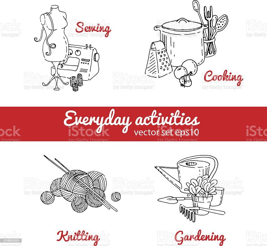 Vector housework vector art illustration