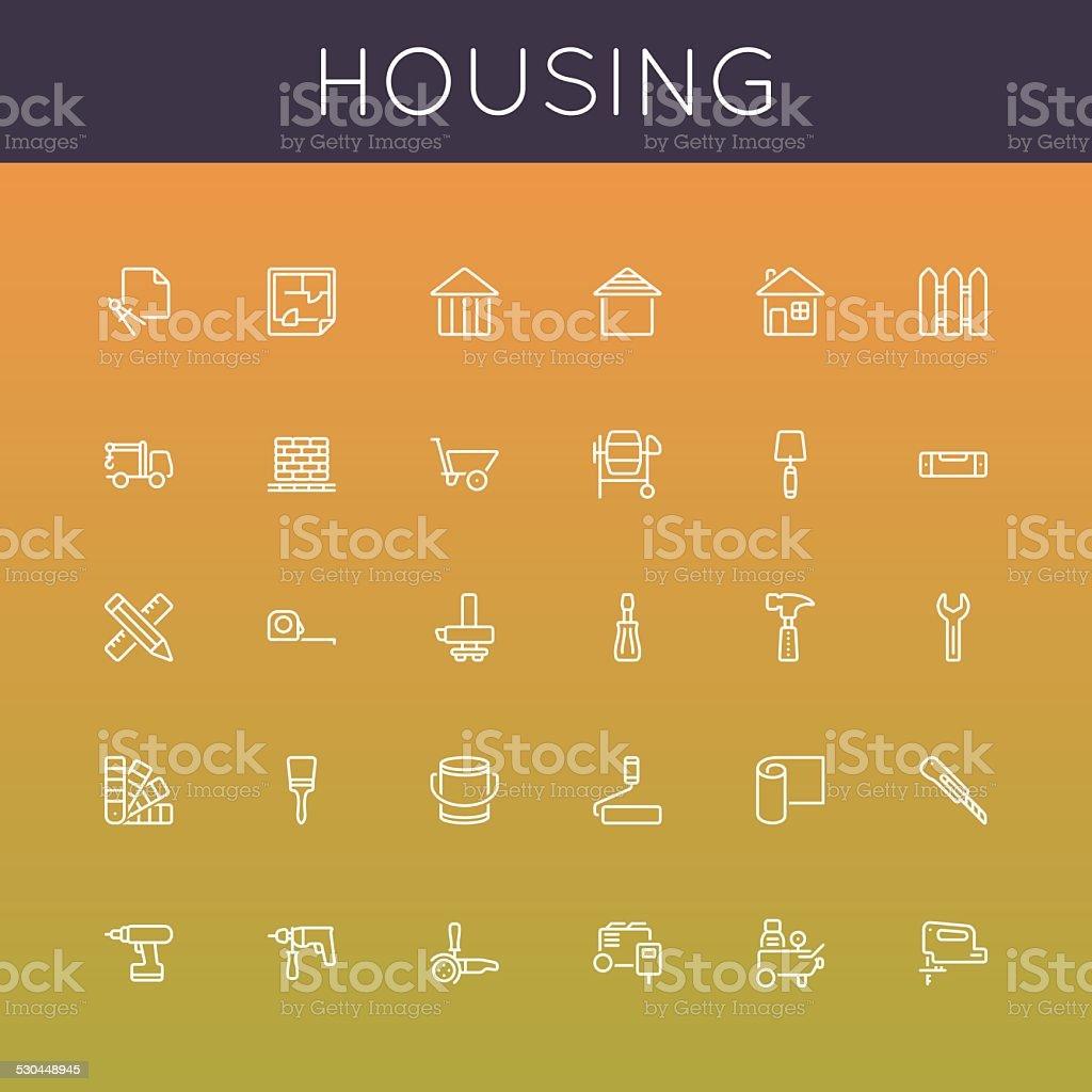 Vector Housing Line Icons vector art illustration