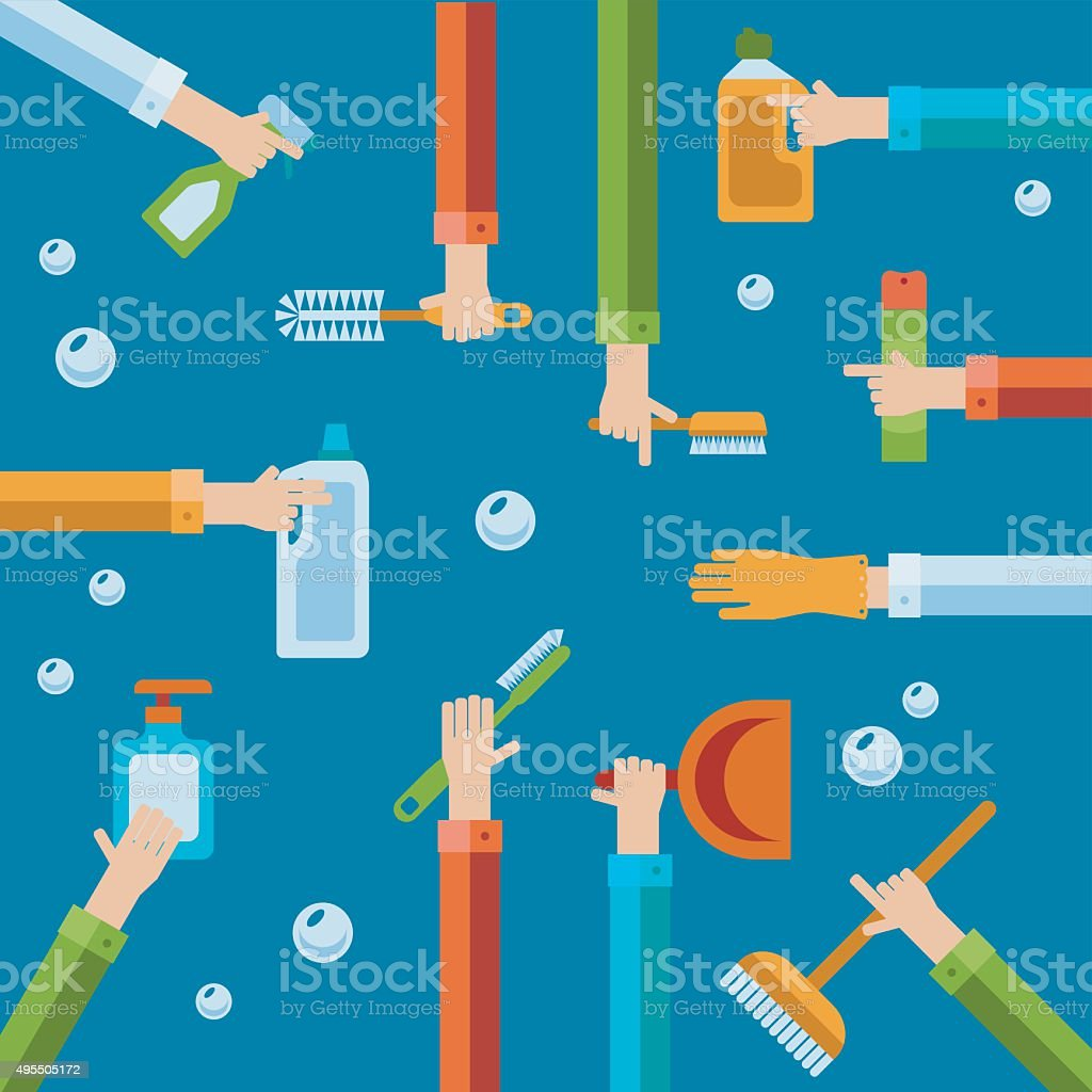 Vector human hands using cleaning products flat icons. vector art illustration