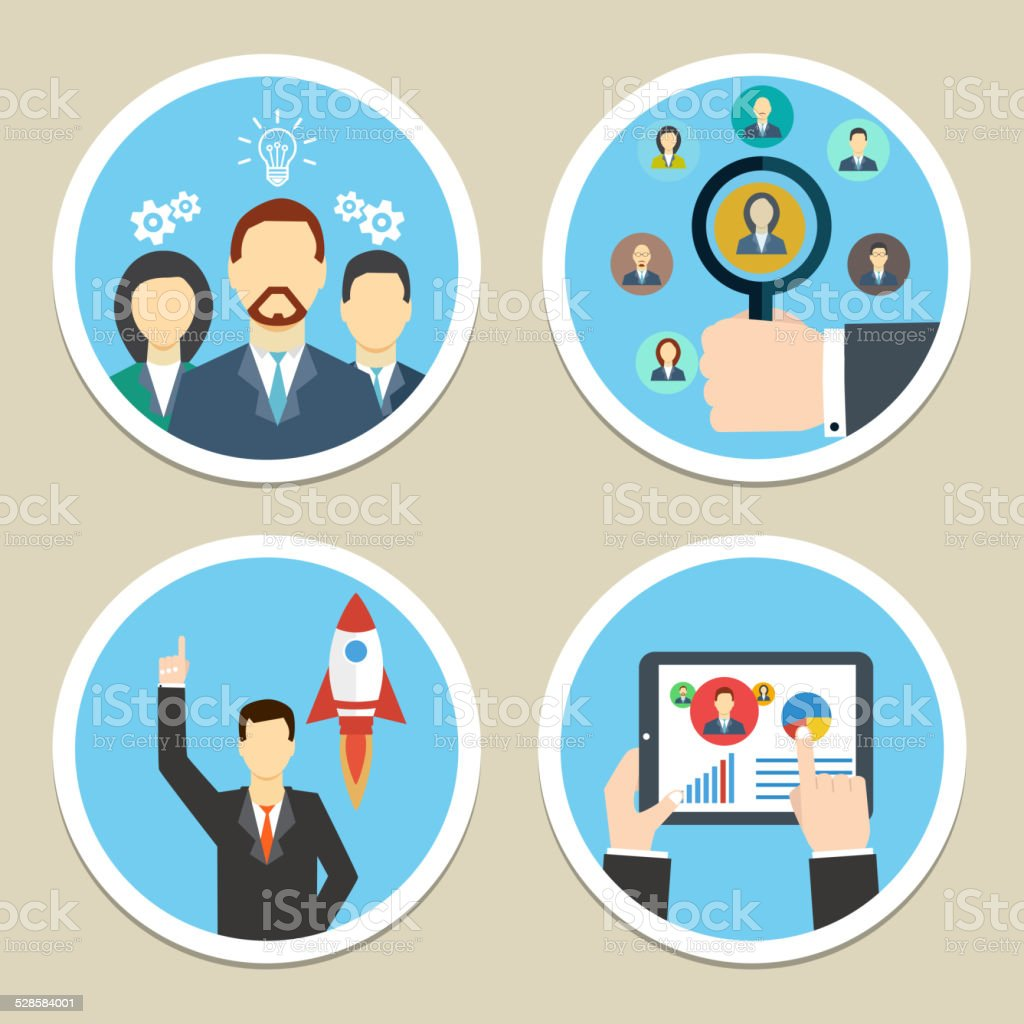 Vector human resources icons vector art illustration