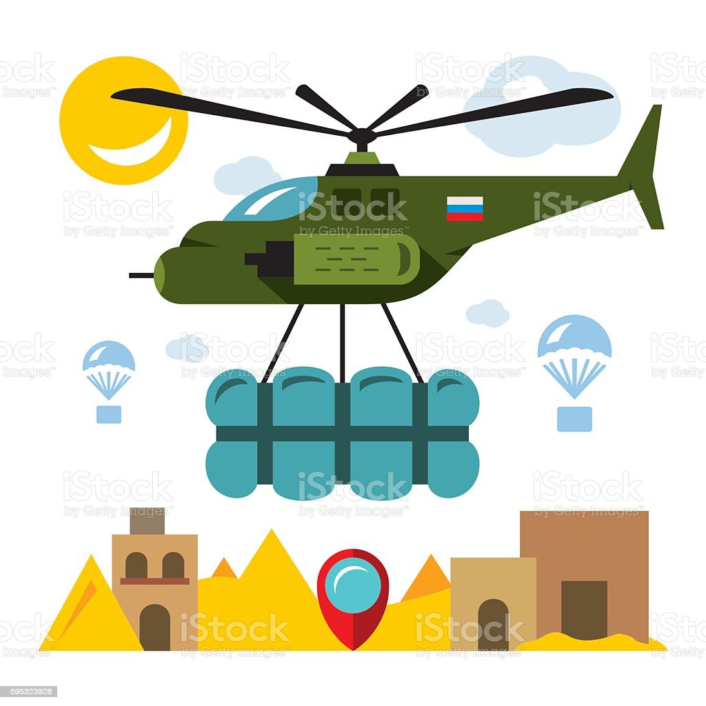 Vector Humanitarian aid in a war zone. Flat style colorful vector art illustration