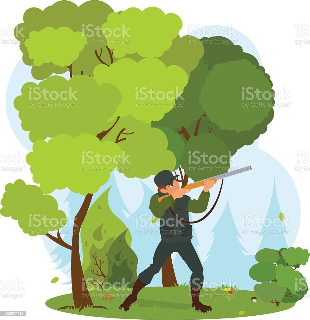 Vector hunter with gun vector art illustration