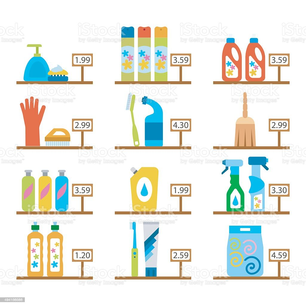 Vector hygiene and cleaning products flat icons. vector art illustration