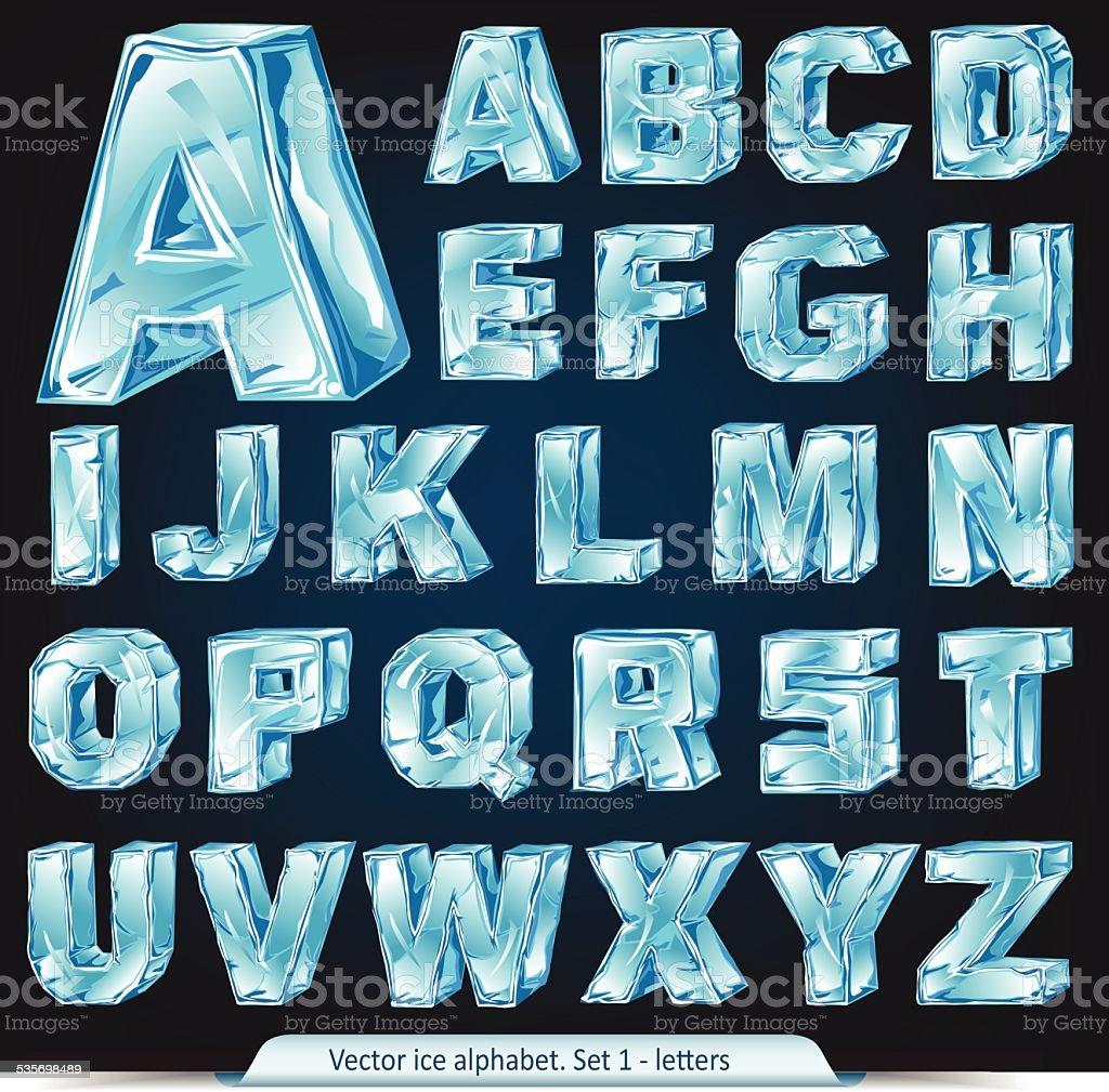 Vector ice alphabet. Letters vector art illustration