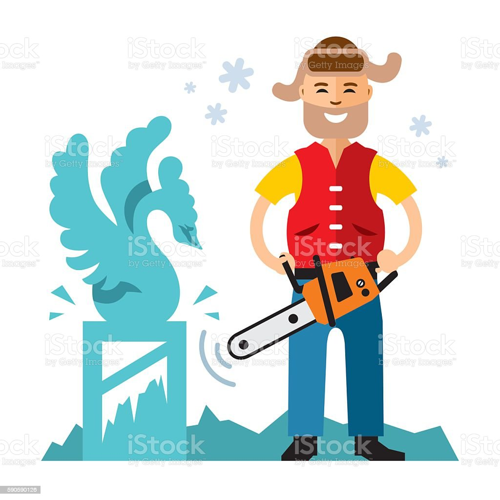 Vector ice carving. Flat style colorful Cartoon illustration. vector art illustration
