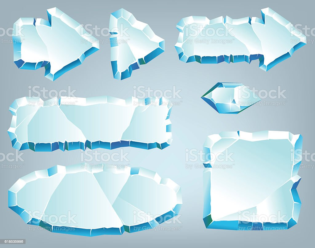 Vector ice design elements for game and web vector art illustration