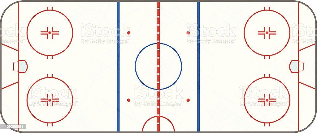 Vector Ice Hockey Rink With Skate Marks vector art illustration