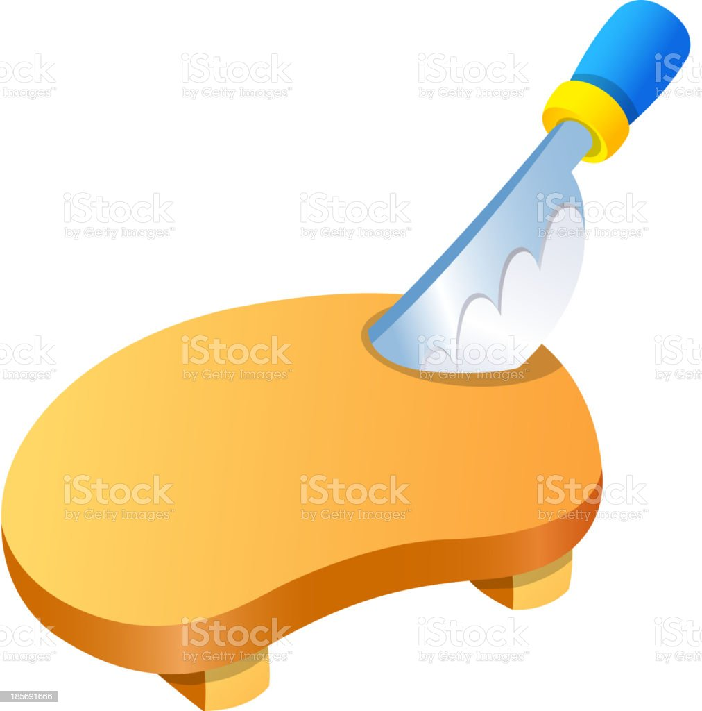 Vector icon cutting board and knife royalty-free stock vector art