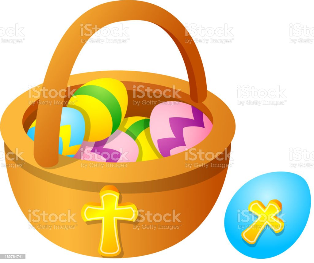 Vector icon easter egg and basket royalty-free stock vector art