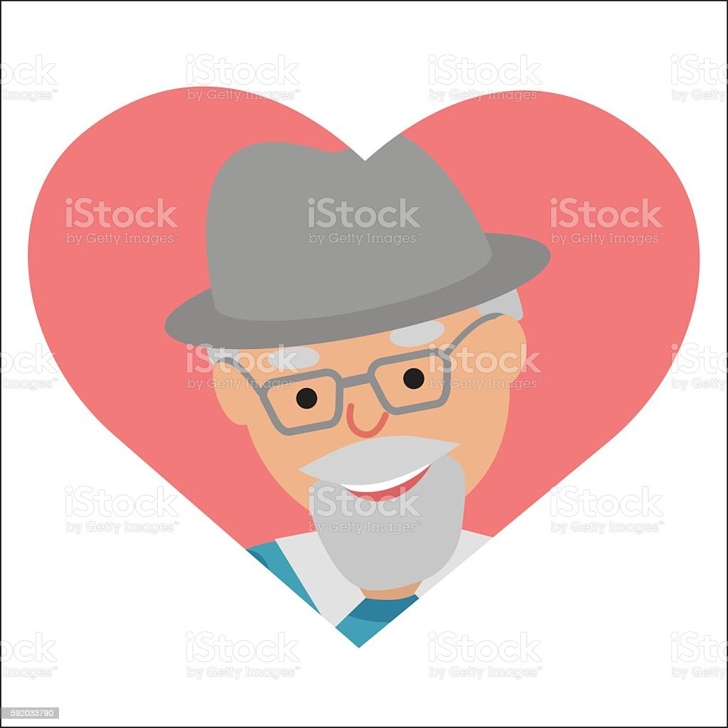 Vector icon elderly man in the pink heart vector art illustration
