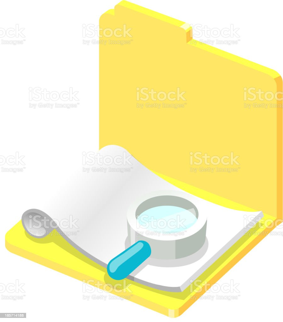 Vector icon file and magnifying glass royalty-free stock vector art