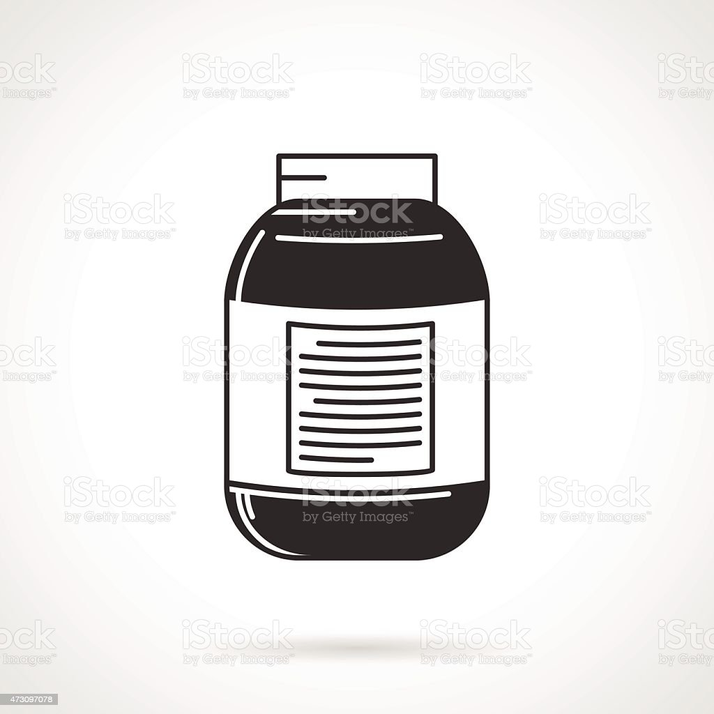 Vector icon for black supplements jar vector art illustration