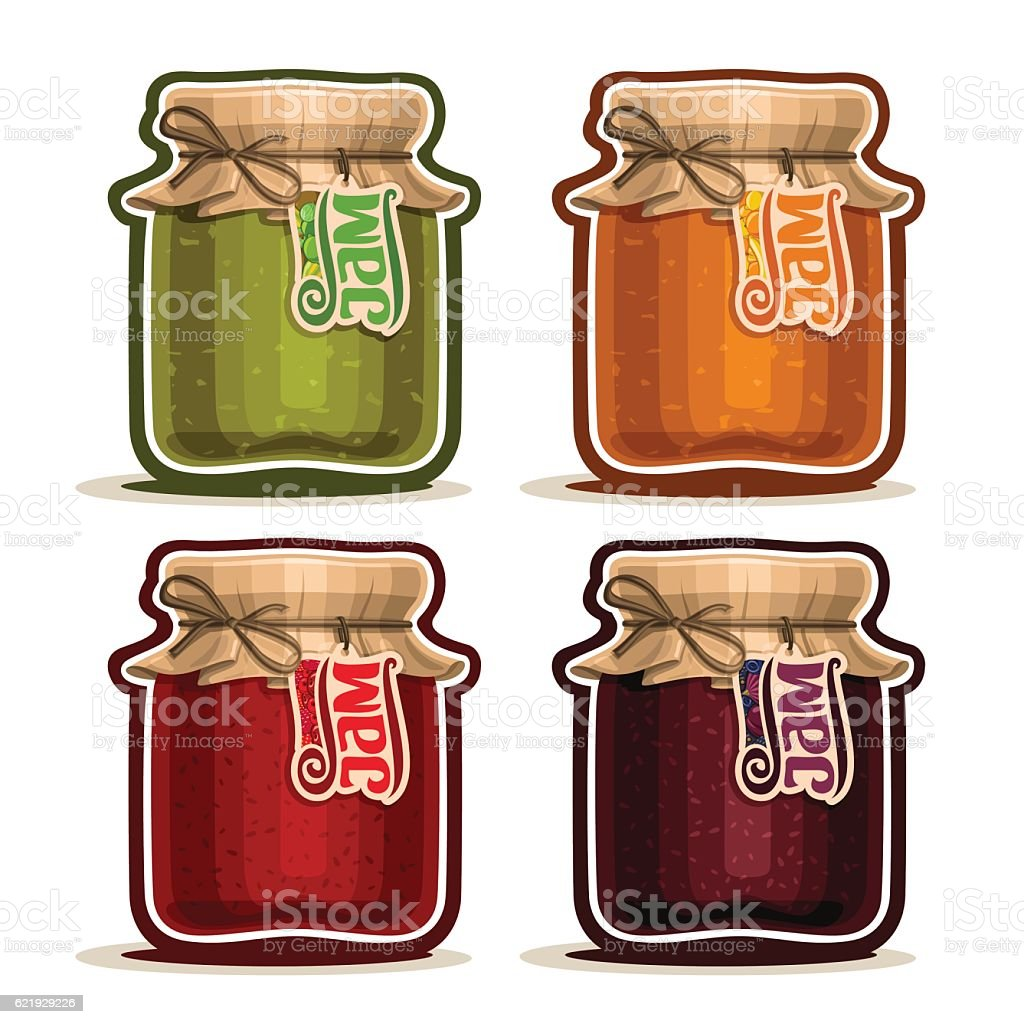 Vector icon Fruit Jam in glass Jar vector art illustration