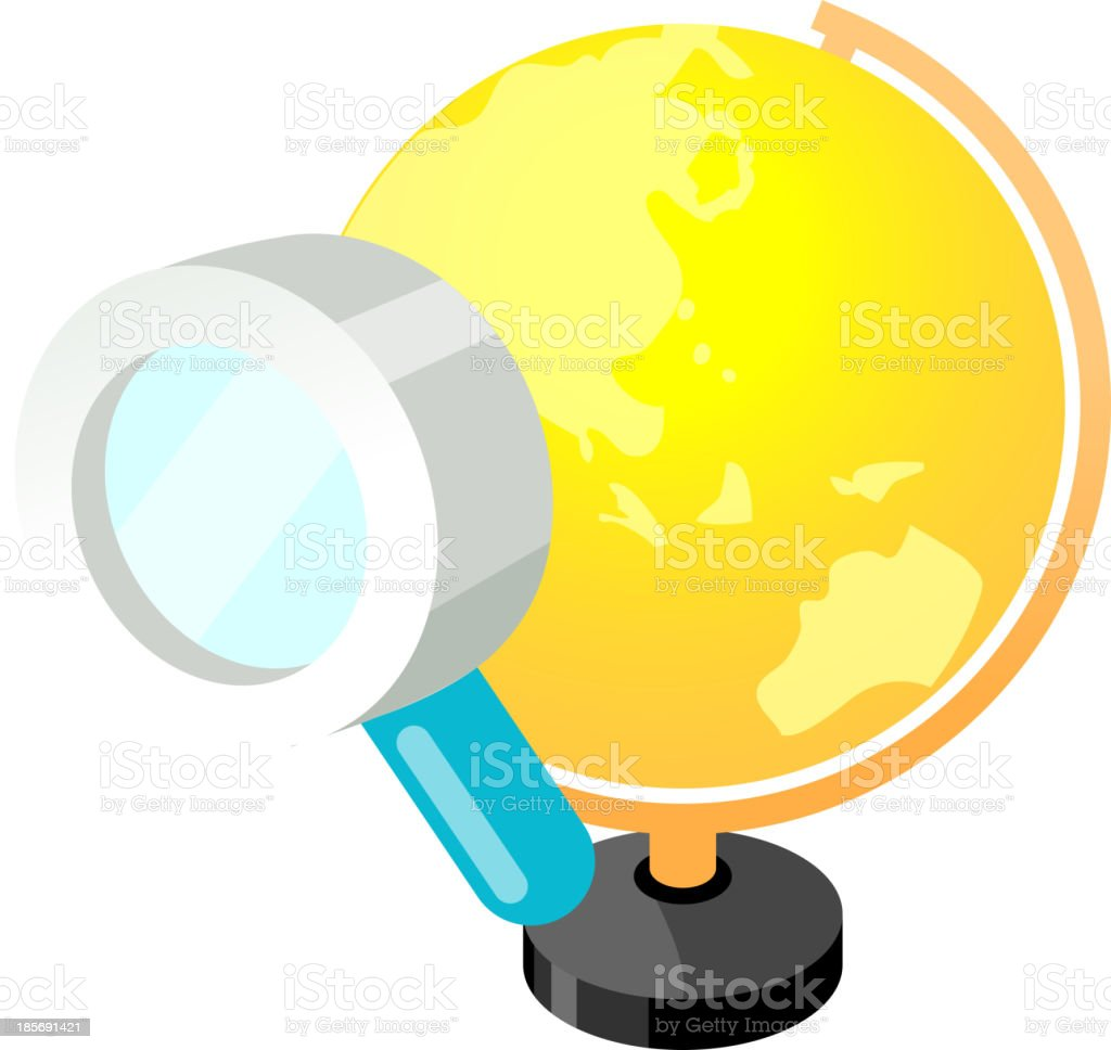 Vector icon globe and magnifying glass royalty-free stock vector art