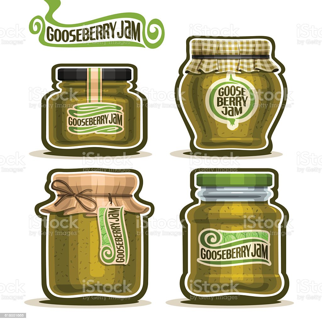 Vector icon Gooseberry Jam in glass Jars vector art illustration