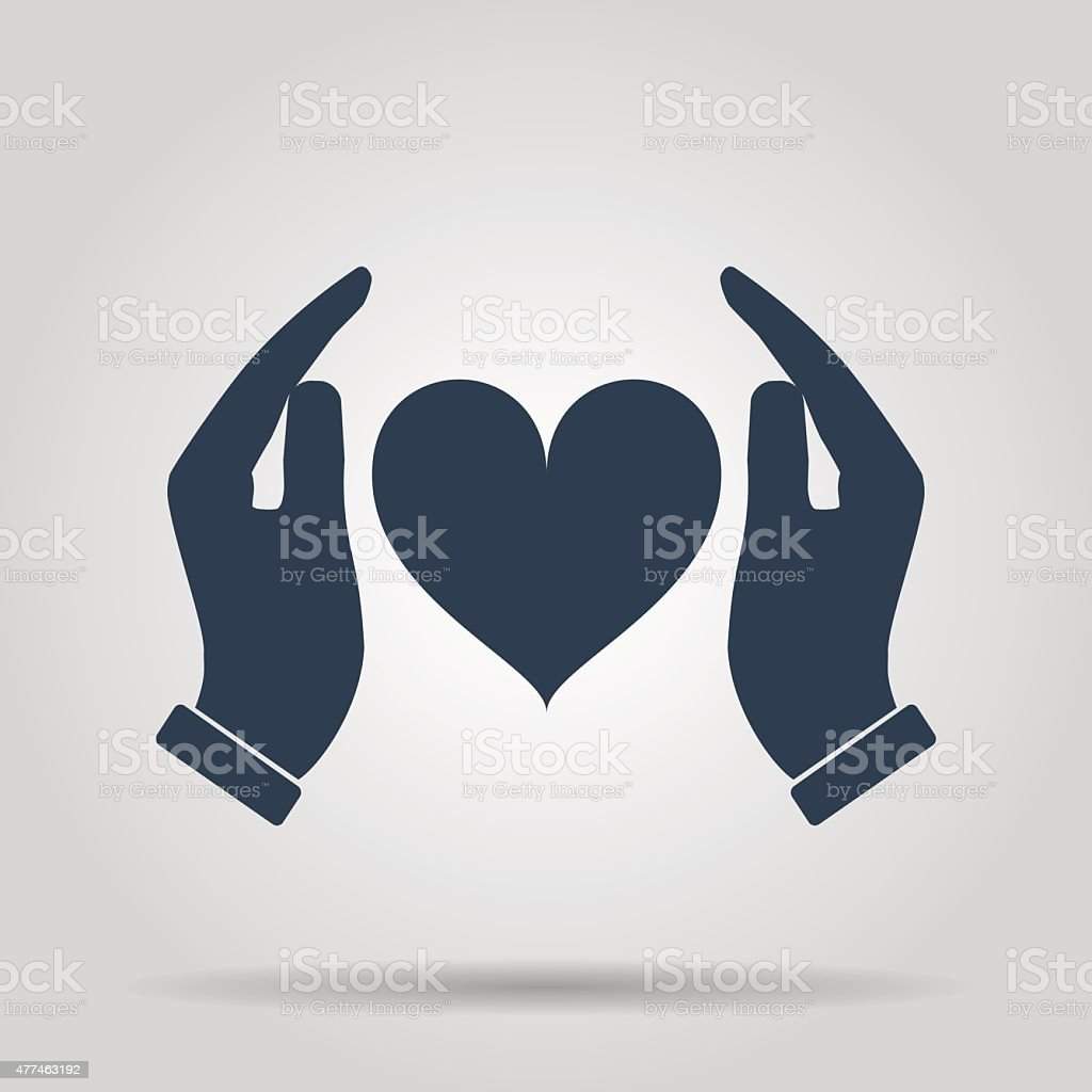 Vector icon - hands holding heart vector art illustration