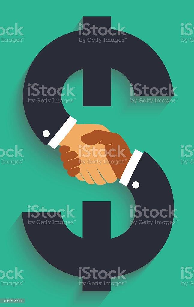 Vector icon handshake on money sign. vector art illustration