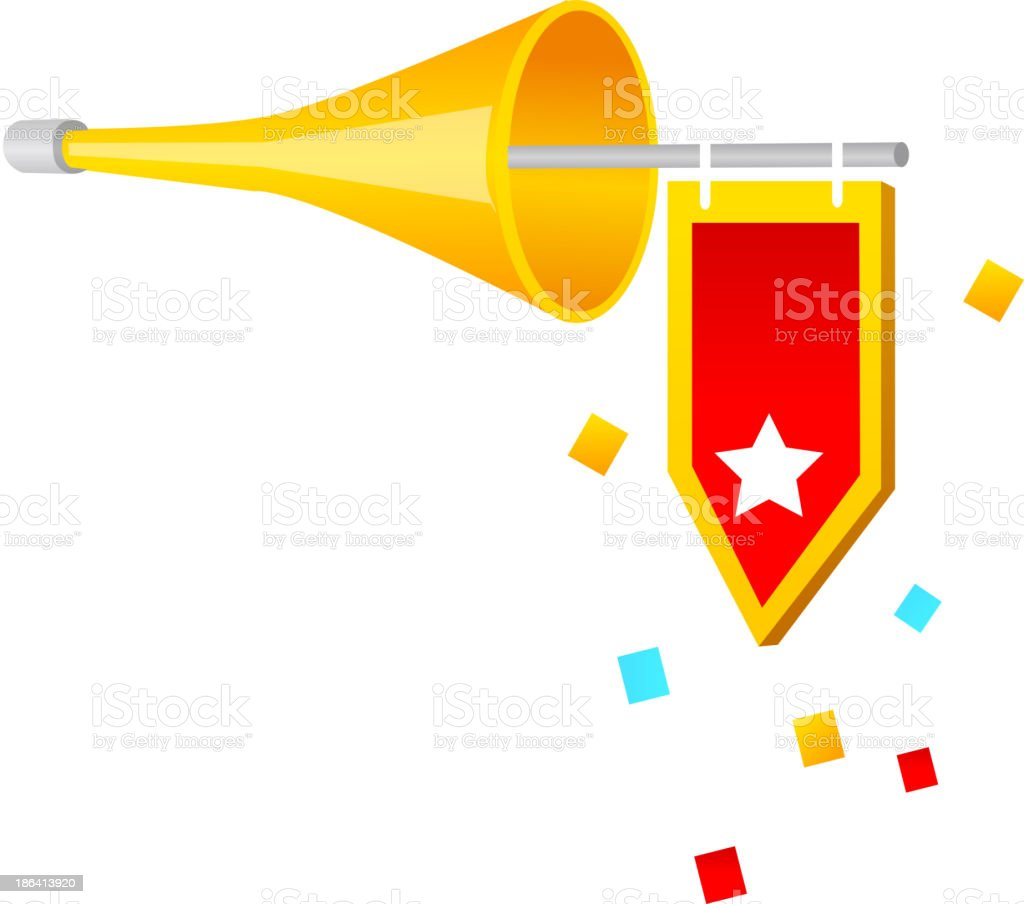 vector icon horn and flag royalty-free stock vector art