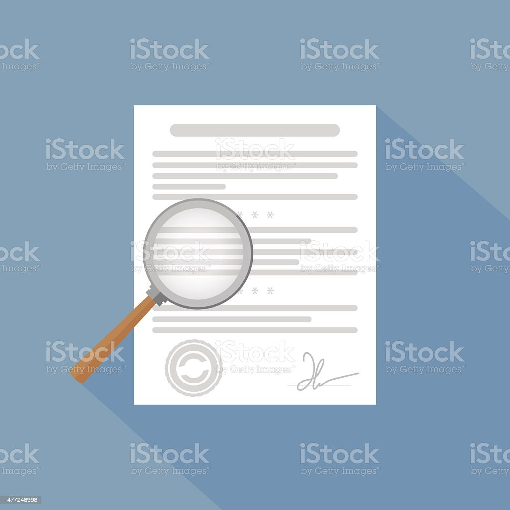 Vector icon - magnifier and paper document vector art illustration