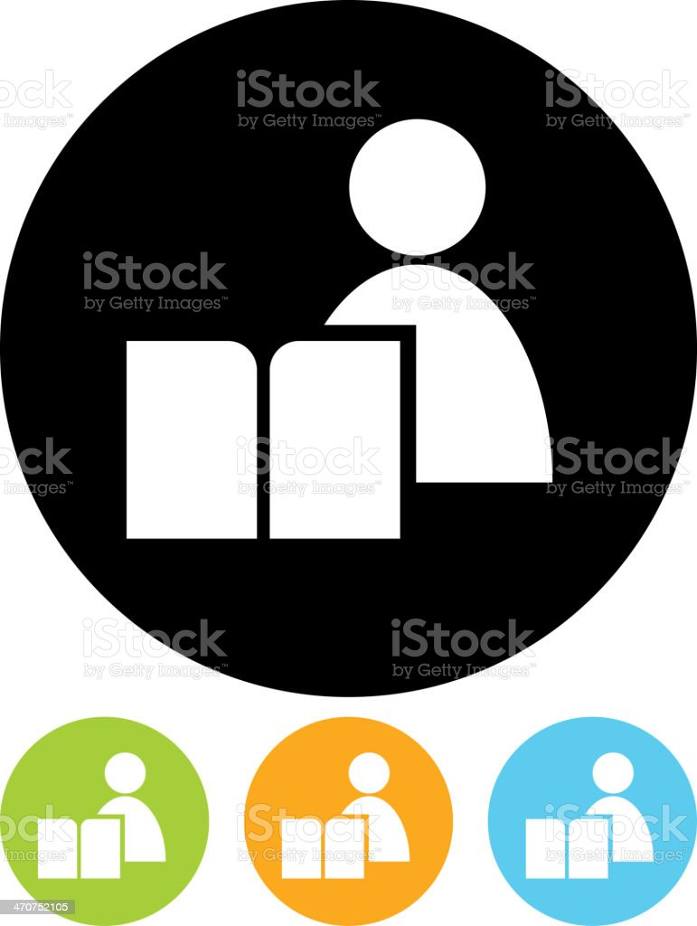 Vector icon - Man with book vector art illustration