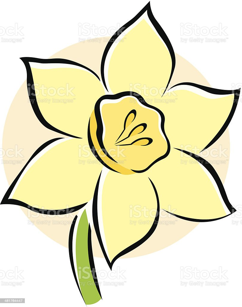 Vector Icon of a Daffodil Flower Isolated on White Background. royalty-free stock vector art