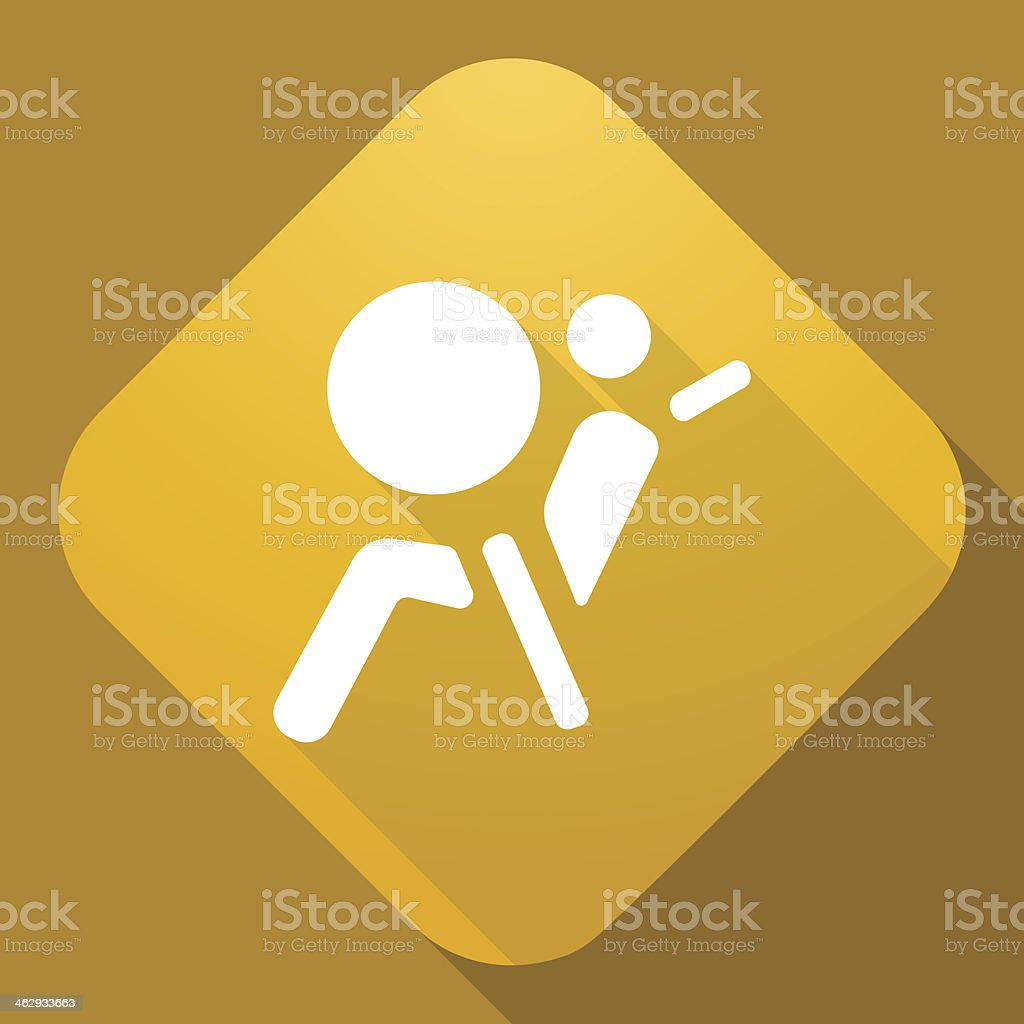 Vector icon of Airbag Sign with a long shadow vector art illustration
